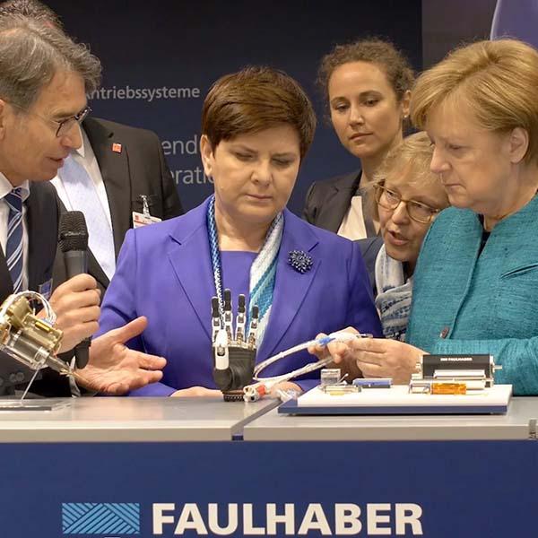 Hannover Messe 2017 - Angela Merkel zu Besuch bei FAULHABER